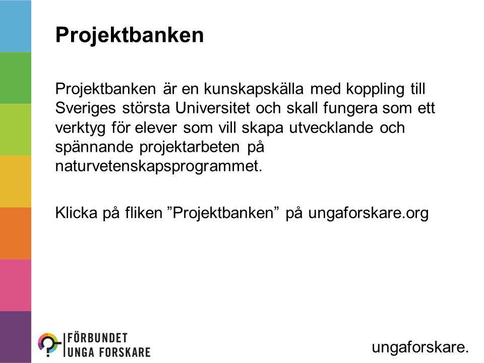 Projektbanken Projektbanken är en kunskapskälla med koppling till Sveriges största Universitet och skall fungera som ett verktyg för elever som vill skapa utvecklande och spännande projektarbeten på naturvetenskapsprogrammet.
