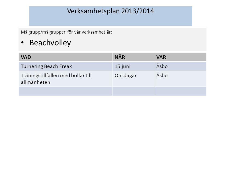Verksamhetsplan 2013/2014 Målgrupp/målgrupper för vår verksamhet är: Beachvolley VADNÄRVAR Turnering Beach Freak15 juniÅsbo Träningstillfällen med bollar till allmänheten OnsdagarÅsbo