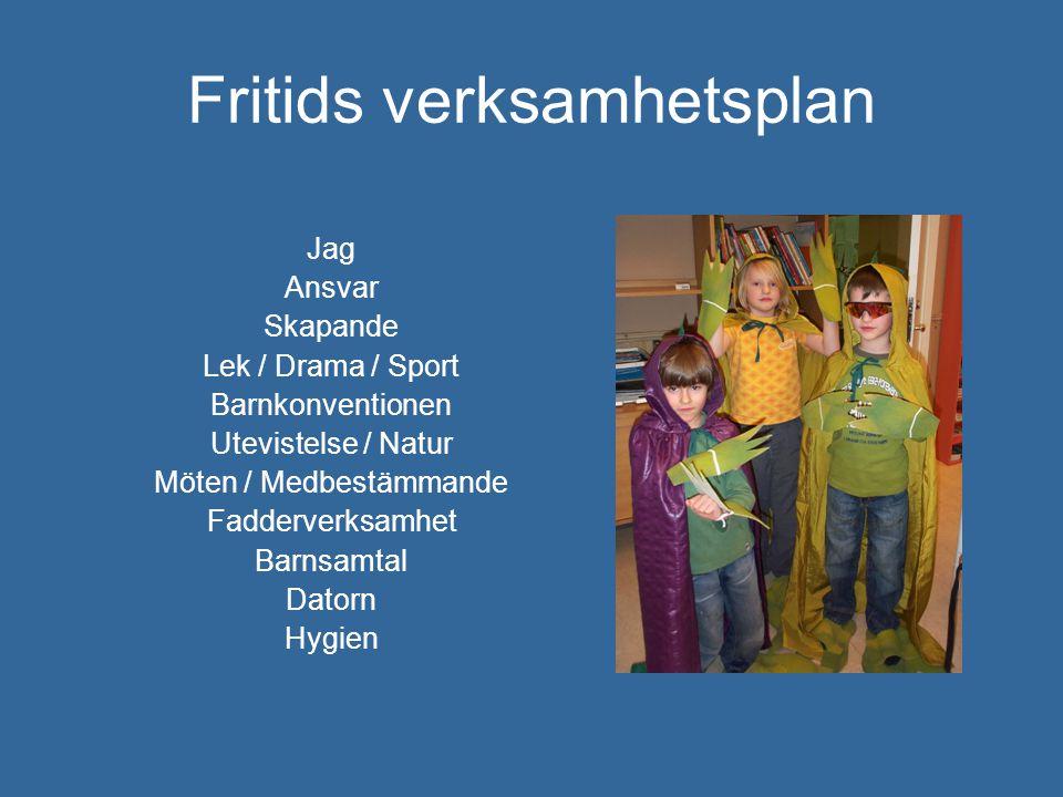 Fritids verksamhetsplan Jag Ansvar Skapande Lek / Drama / Sport Barnkonventionen Utevistelse / Natur Möten / Medbestämmande Fadderverksamhet Barnsamta