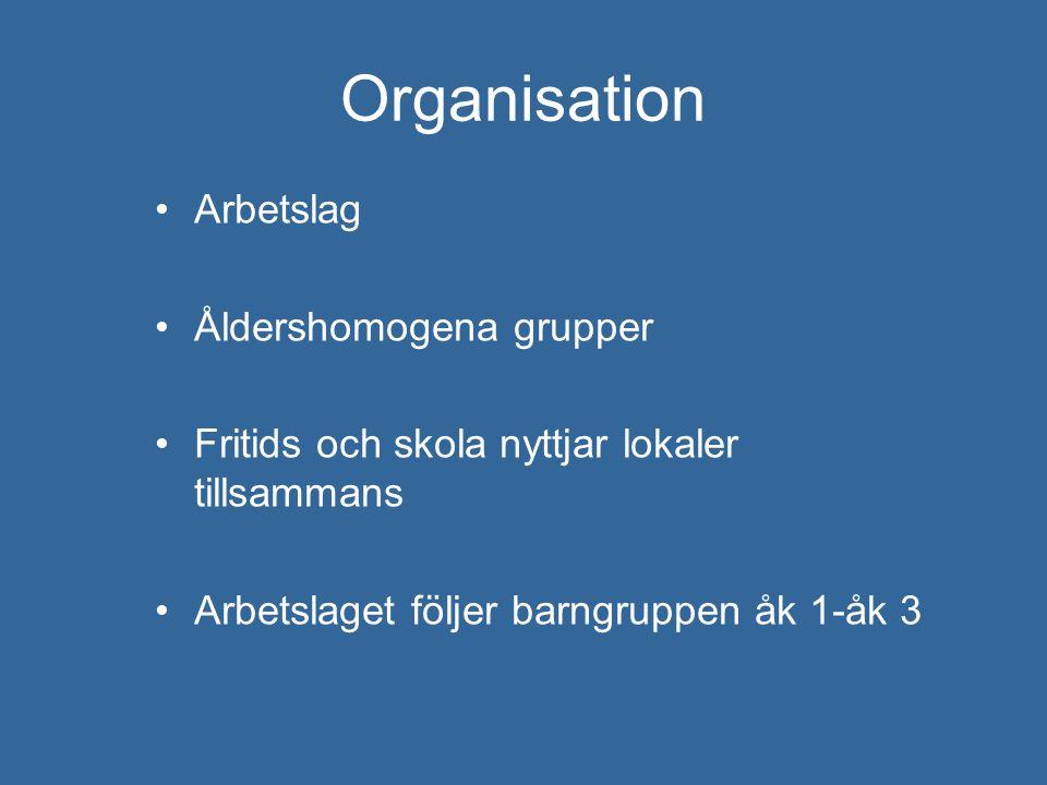 Organisation Arbetslag Åldershomogena grupper Fritids och skola nyttjar lokaler tillsammans Arbetslaget följer barngruppen åk 1-åk 3