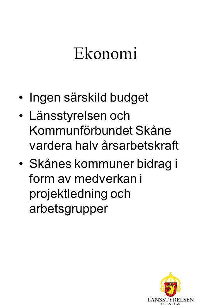 Ekonomi Ingen särskild budget Länsstyrelsen och Kommunförbundet Skåne vardera halv årsarbetskraft Skånes kommuner bidrag i form av medverkan i projektledning och arbetsgrupper