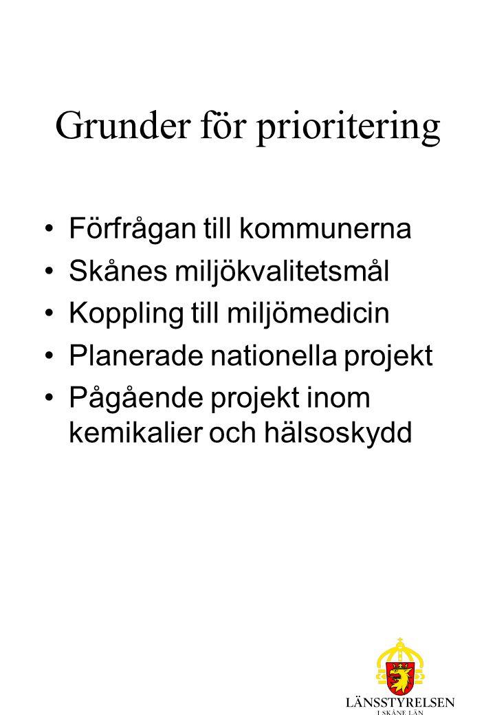 Grunder för prioritering Förfrågan till kommunerna Skånes miljökvalitetsmål Koppling till miljömedicin Planerade nationella projekt Pågående projekt inom kemikalier och hälsoskydd