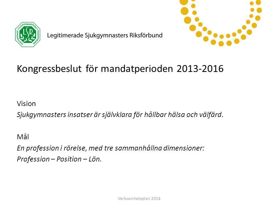 LSR Västerbotten Kongressbeslut för mandatperioden 2013-2016 Vision Sjukgymnasters insatser är självklara för hållbar hälsa och välfärd. Mål En profes