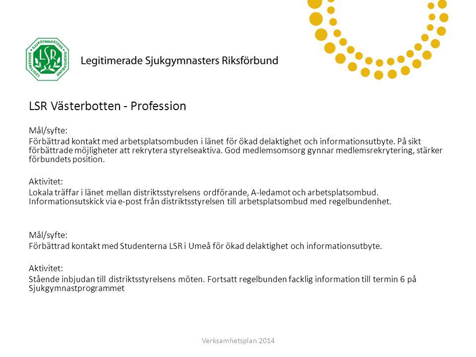 LSR Västerbotten LSR Västerbotten - Profession Mål/syfte: Förbättrad kontakt med arbetsplatsombuden i länet för ökad delaktighet och informationsutbyte.