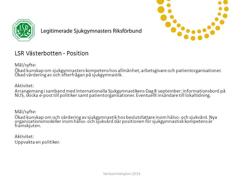 LSR Västerbotten LSR Västerbotten - Position Mål/syfte: Ökad kunskap om sjukgymnasters kompetens hos allmänhet, arbetsgivare och patientorganisationer