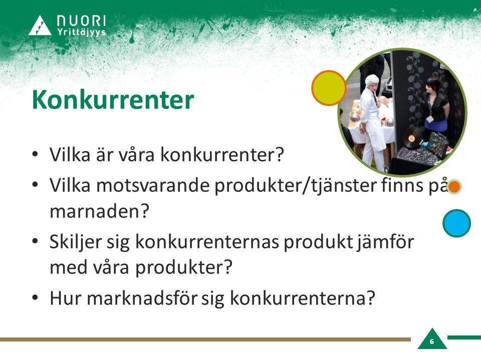 Konkurrenter Vilka är våra konkurrenter. Vilka motsvarande produkter/tjänster finns på marnaden.