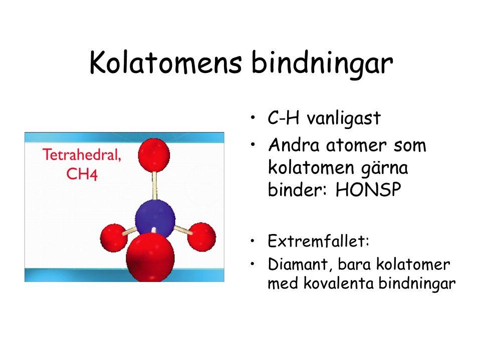 Kolatomens bindningar C-H vanligast Andra atomer som kolatomen gärna binder: HONSP Extremfallet: Diamant, bara kolatomer med kovalenta bindningar