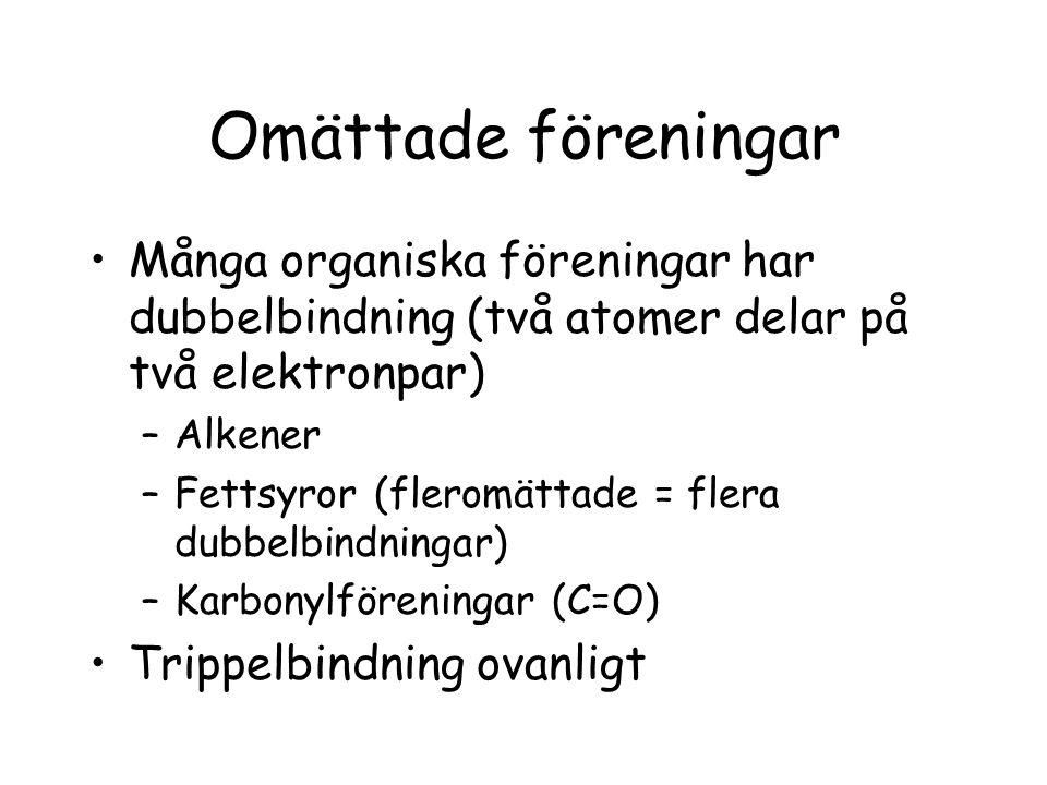 Omättade föreningar Många organiska föreningar har dubbelbindning (två atomer delar på två elektronpar) –Alkener –Fettsyror (fleromättade = flera dubb