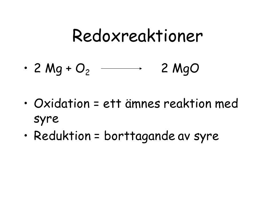 Redoxreaktioner 2 Mg + O 2 2 MgO Oxidation = ett ämnes reaktion med syre Reduktion = borttagande av syre