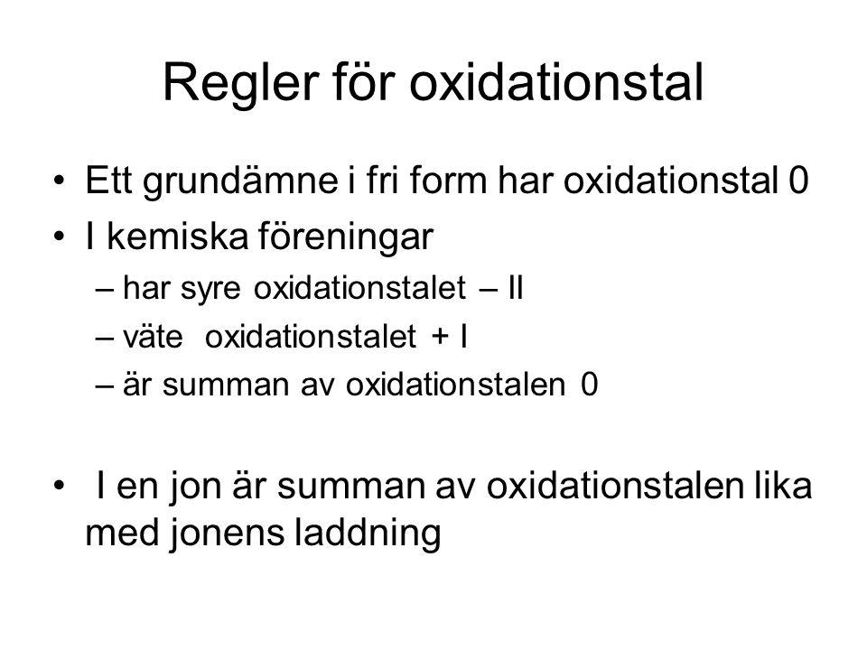 Regler för oxidationstal Ett grundämne i fri form har oxidationstal 0 I kemiska föreningar –har syre oxidationstalet – II –väte oxidationstalet + I –ä