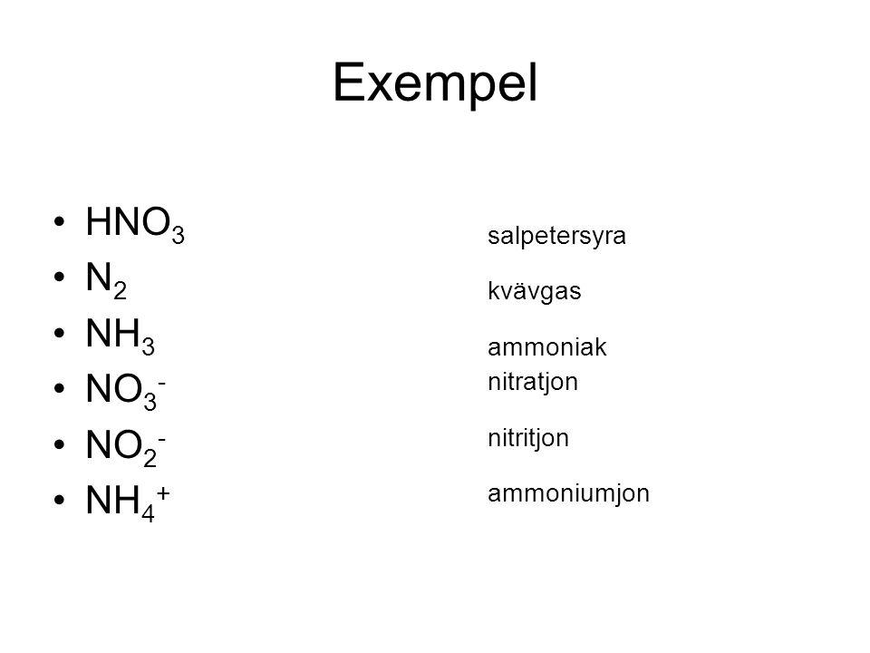 Exempel HNO 3salpetersyra N 2kvävgas NH 3ammoniak NO 3 -nitratjon NO 2 -nitritjon NH 4 +ammoniumjon