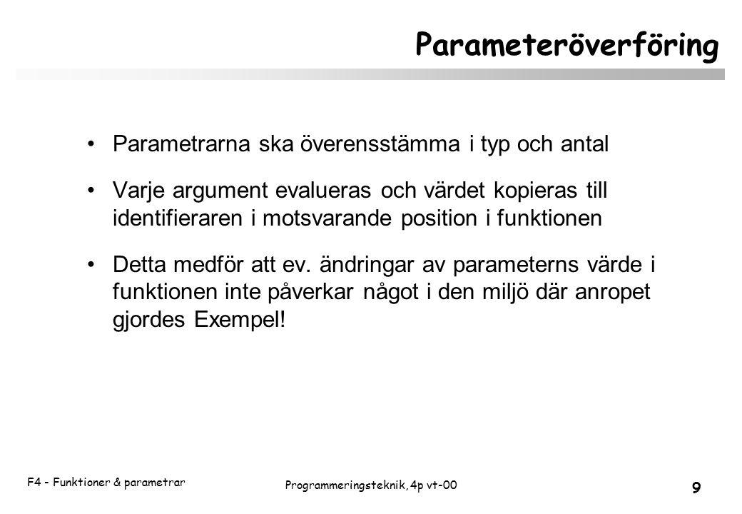 F4 - Funktioner & parametrar 9 Programmeringsteknik, 4p vt-00 Parameteröverföring Parametrarna ska överensstämma i typ och antal Varje argument evalueras och värdet kopieras till identifieraren i motsvarande position i funktionen Detta medför att ev.