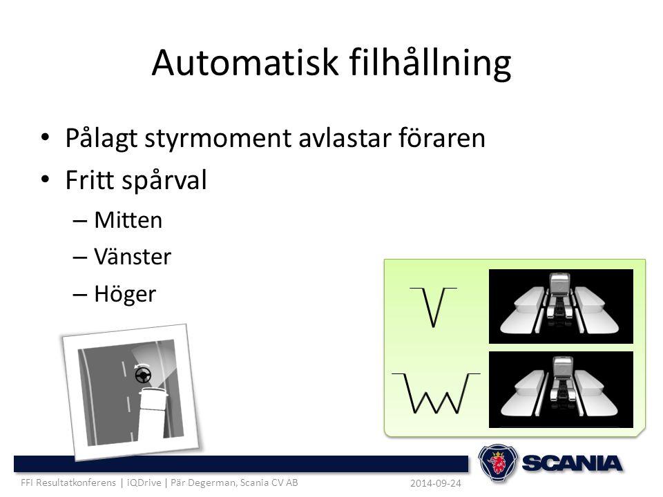 Automatisk filhållning Pålagt styrmoment avlastar föraren Fritt spårval – Mitten – Vänster – Höger 2014-09-24 FFI Resultatkonferens | iQDrive | Pär De