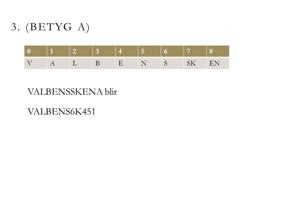 3. (BETYG A) 012345678 VALBENSSKEN VALBENSSKENA blir VALBENS6K451