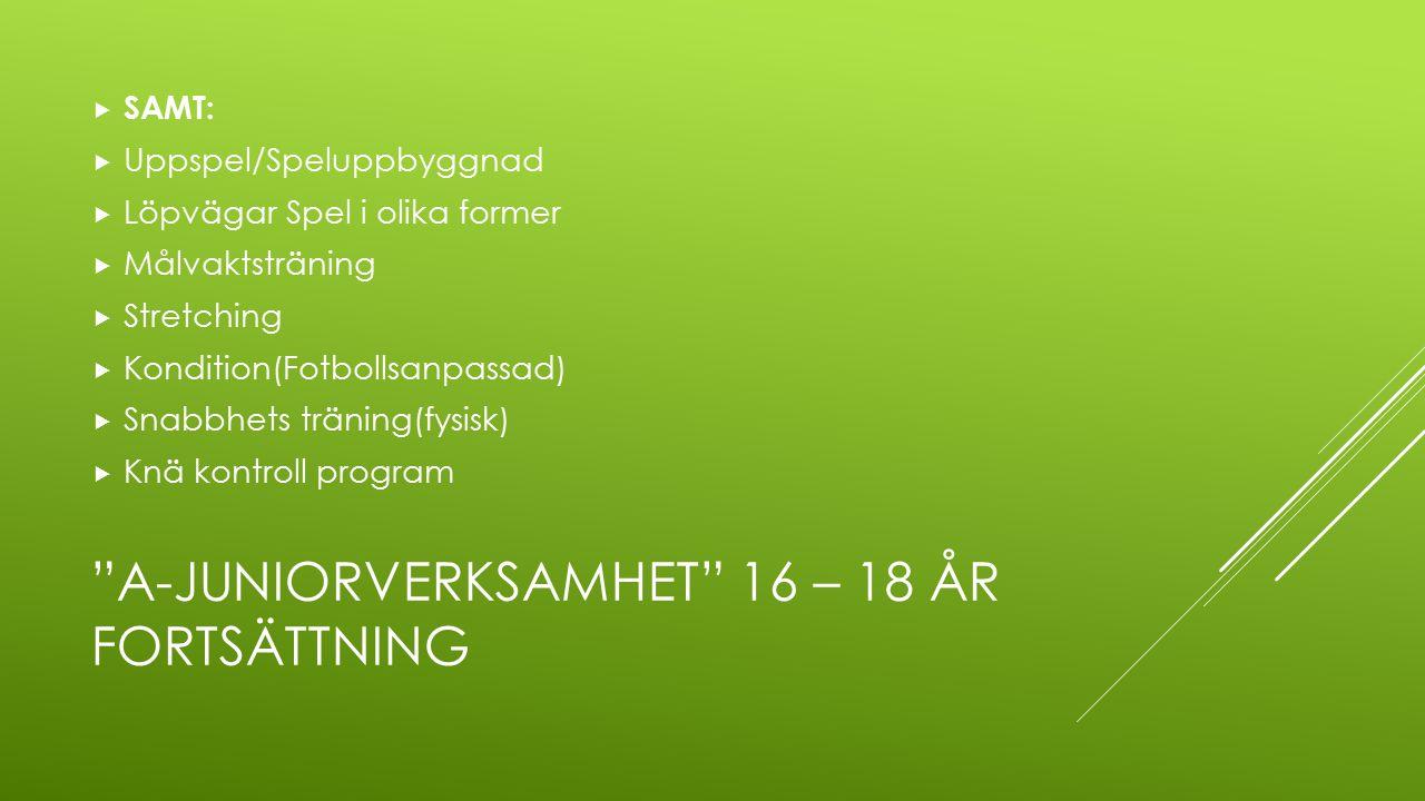 """""""A-JUNIORVERKSAMHET"""" 16 – 18 ÅR FORTSÄTTNING  SAMT:  Uppspel/Speluppbyggnad  Löpvägar Spel i olika former  Målvaktsträning  Stretching  Konditio"""