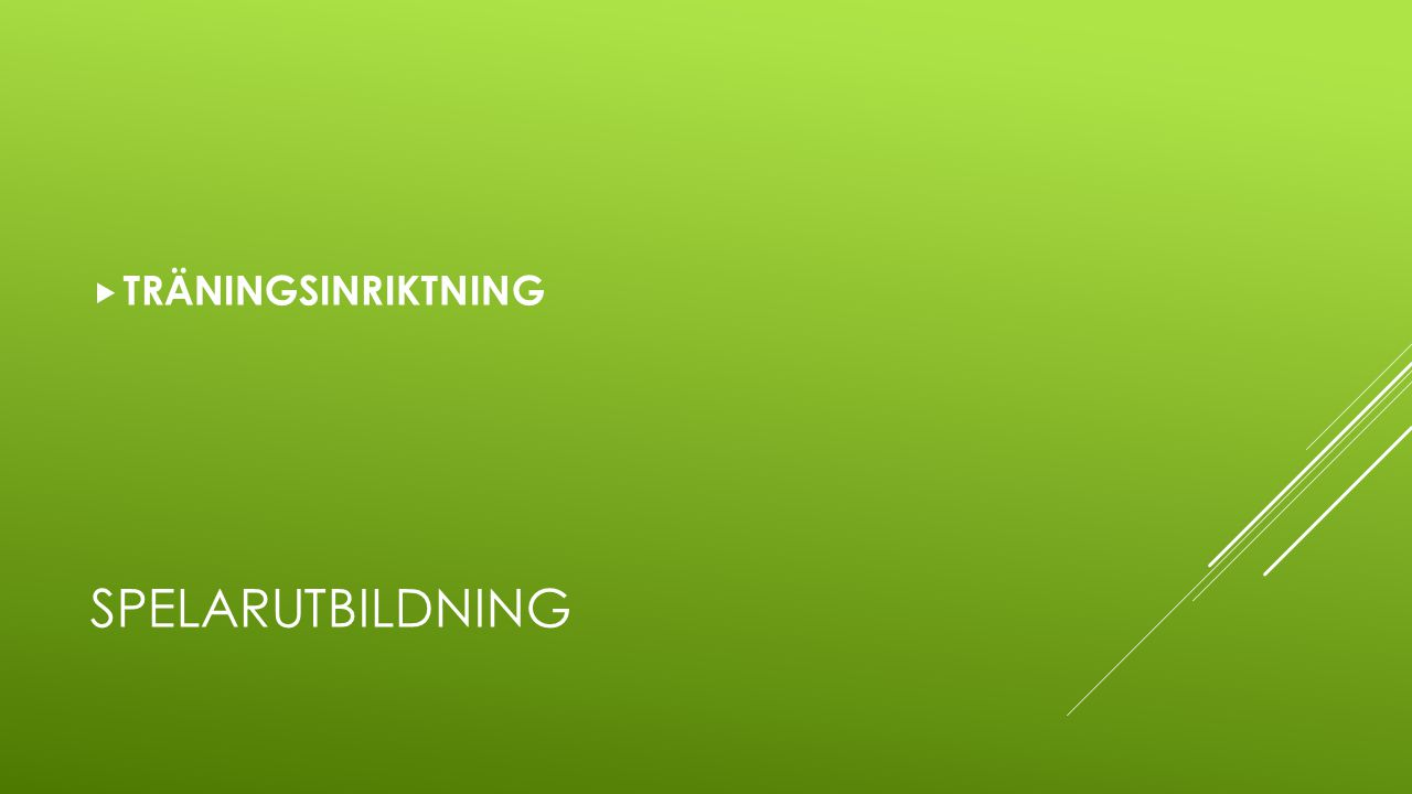 SPELARUTBILDNING  TRÄNINGSINRIKTNING