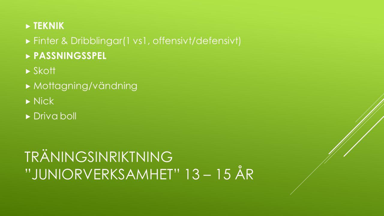 """TRÄNINGSINRIKTNING """"JUNIORVERKSAMHET"""" 13 – 15 ÅR  TEKNIK  Finter & Dribblingar(1 vs1, offensivt/defensivt)  PASSNINGSSPEL  Skott  Mottagning/vänd"""