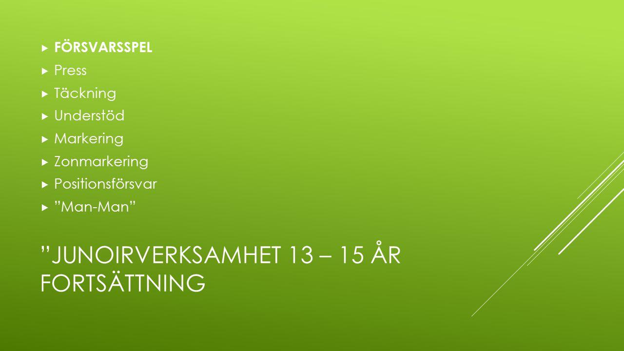 """""""JUNOIRVERKSAMHET 13 – 15 ÅR FORTSÄTTNING  FÖRSVARSSPEL  Press  Täckning  Understöd  Markering  Zonmarkering  Positionsförsvar  """"Man-Man"""""""