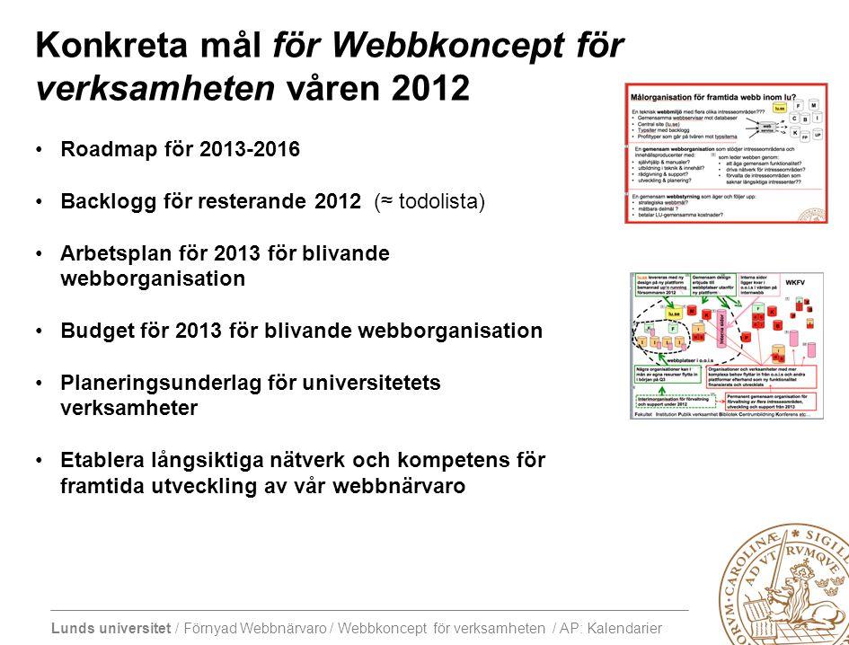 Lunds universitet / Förnyad Webbnärvaro / Webbkoncept för verksamheten / AP: Kalendarier Konkreta mål för Webbkoncept för verksamheten våren 2012 Road