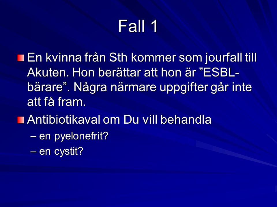 """Fall 1 En kvinna från Sth kommer som jourfall till Akuten. Hon berättar att hon är """"ESBL- bärare"""". Några närmare uppgifter går inte att få fram. Antib"""