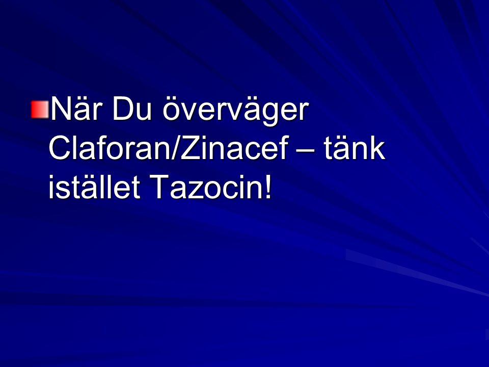 När Du överväger Claforan/Zinacef – tänk istället Tazocin!