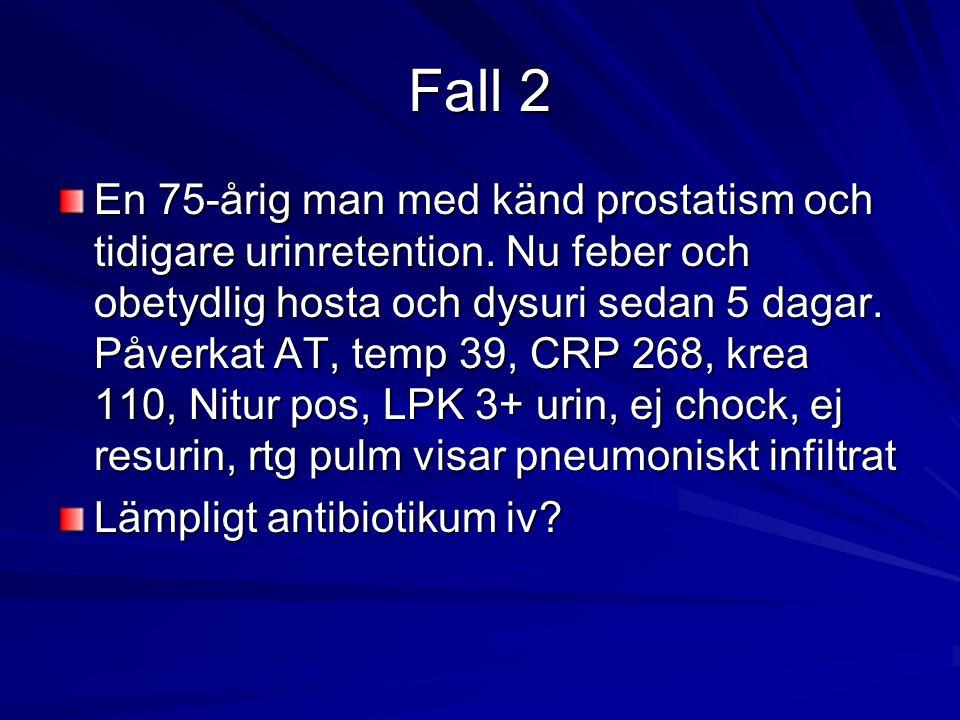 Fall 2 En 75-årig man med känd prostatism och tidigare urinretention. Nu feber och obetydlig hosta och dysuri sedan 5 dagar. Påverkat AT, temp 39, CRP