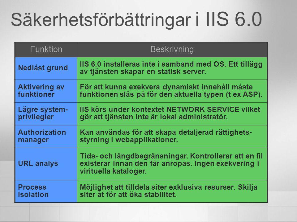 Säkerhetsförbättringar i IIS 6.0 FunktionBeskrivning Nedlåst grund IIS 6.0 installeras inte i samband med OS. Ett tillägg av tjänsten skapar en statis