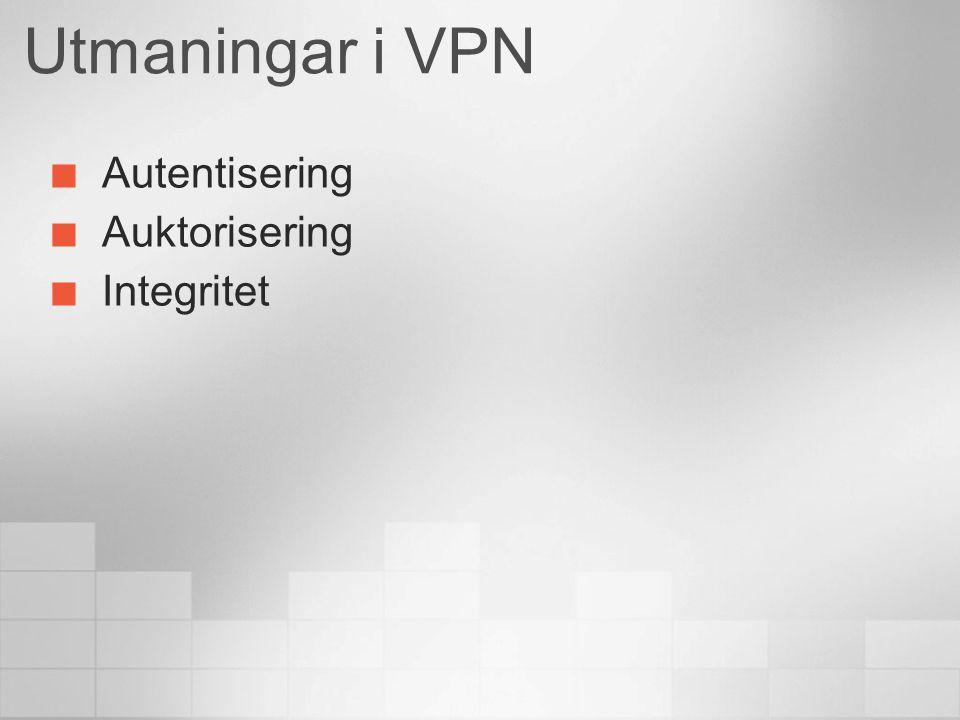 Utmaningar i VPN Autentisering Auktorisering Integritet