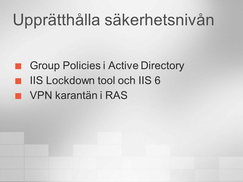 Security Management Intranet Internet RAS Client with CM Windows Server 2003 RRAS Server Active Directory Domain Controller Quarantine Resources Web server
