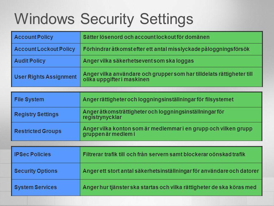 Security Templates Förkonfigurerade säkerhetsinställningar Security Guide: Windows XP Windows Server 2003 Upp till tre varianter: Legacy (endast server) Enterprise High-security Kan modifieras Kan importeras till GPO