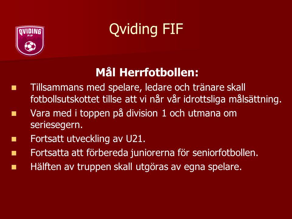 Qviding FIF Mål Herrfotbollen: Tillsammans med spelare, ledare och tränare skall fotbollsutskottet tillse att vi når vår idrottsliga målsättning. Vara