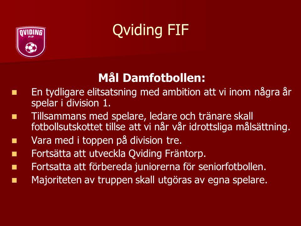 Qviding FIF Mål Damfotbollen: En tydligare elitsatsning med ambition att vi inom några år spelar i division 1. Tillsammans med spelare, ledare och trä