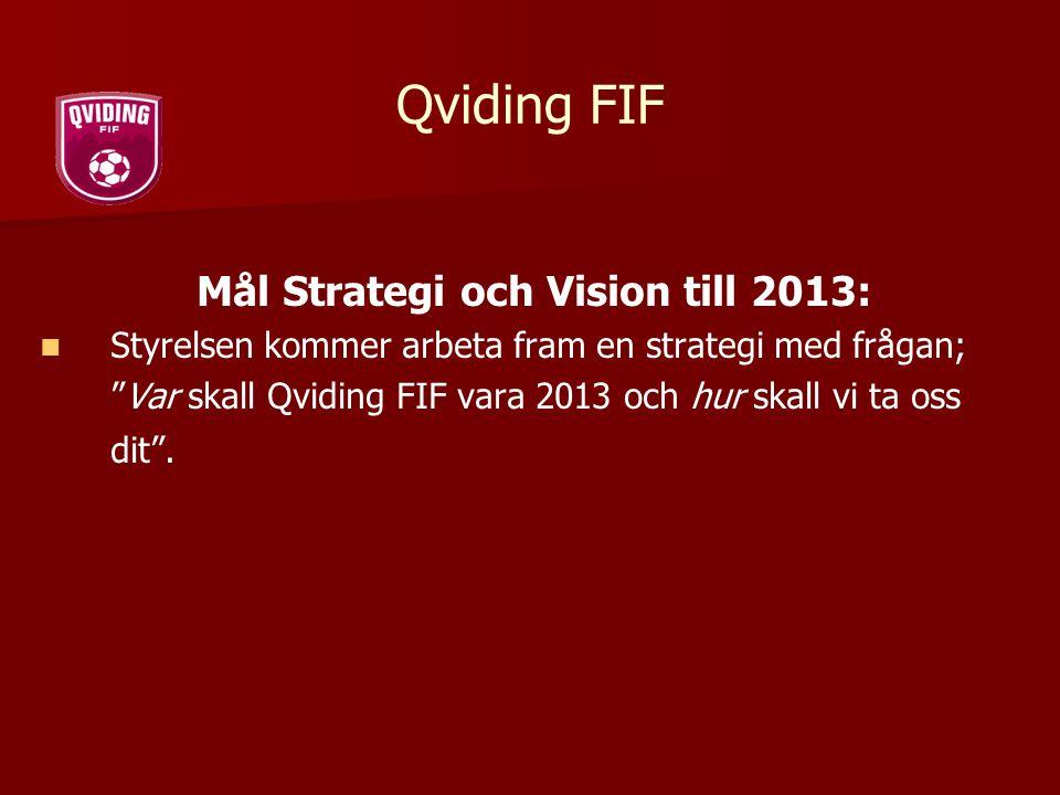 """Qviding FIF Mål Strategi och Vision till 2013: Styrelsen kommer arbeta fram en strategi med frågan; """"Var skall Qviding FIF vara 2013 och hur skall vi"""