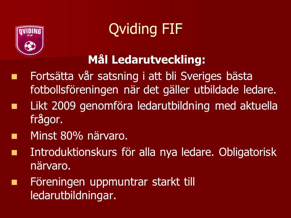 Qviding FIF Mål Ledarutveckling: Fortsätta vår satsning i att bli Sveriges bästa fotbollsföreningen när det gäller utbildade ledare. Likt 2009 genomfö