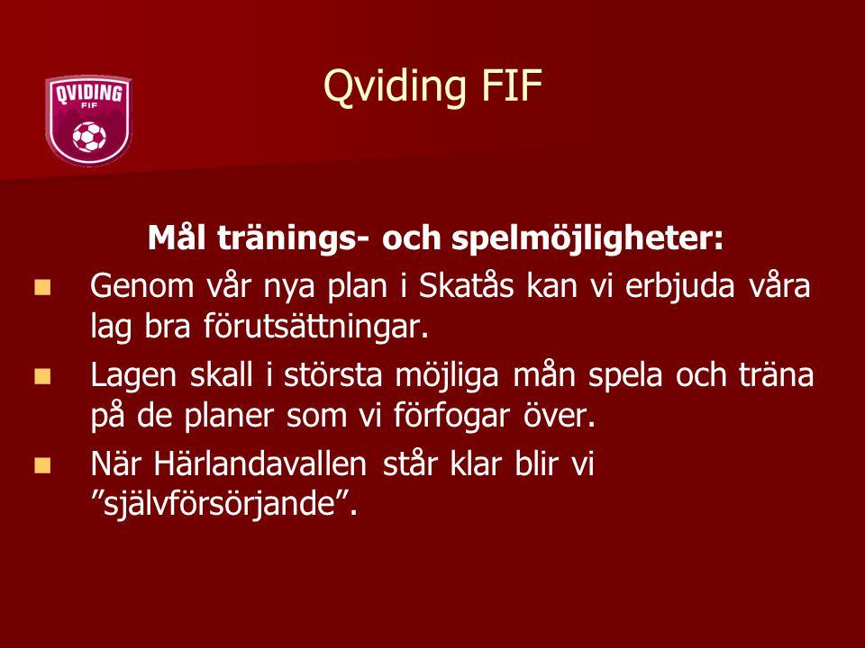 Qviding FIF Mål tränings- och spelmöjligheter: Genom vår nya plan i Skatås kan vi erbjuda våra lag bra förutsättningar. Lagen skall i största möjliga