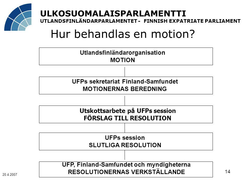 ULKOSUOMALAISPARLAMENTTI UTLANDSFINLÄNDARPARLAMENTET - FINNISH EXPATRIATE PARLIAMENT 20.4.2007 14 Hur behandlas en motion.