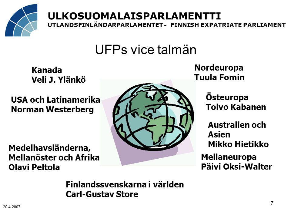 ULKOSUOMALAISPARLAMENTTI UTLANDSFINLÄNDARPARLAMENTET - FINNISH EXPATRIATE PARLIAMENT 20.4.2007 7 UFPs vice talmän Kanada Veli J.