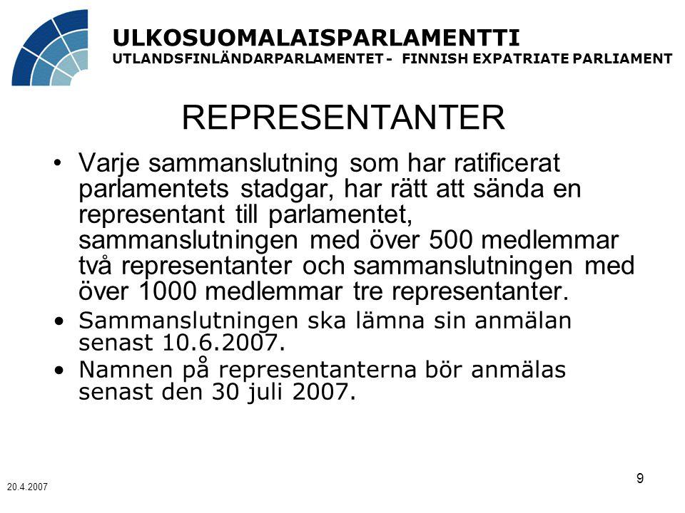 ULKOSUOMALAISPARLAMENTTI UTLANDSFINLÄNDARPARLAMENTET - FINNISH EXPATRIATE PARLIAMENT 20.4.2007 9 REPRESENTANTER Varje sammanslutning som har ratificerat parlamentets stadgar, har rätt att sända en representant till parlamentet, sammanslutningen med över 500 medlemmar två representanter och sammanslutningen med över 1000 medlemmar tre representanter.