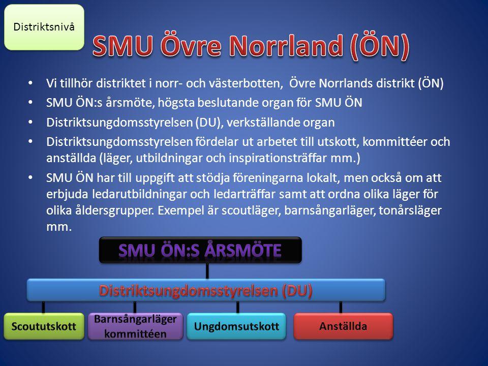 Vi tillhör distriktet i norr- och västerbotten, Övre Norrlands distrikt (ÖN) SMU ÖN:s årsmöte, högsta beslutande organ för SMU ÖN Distriktsungdomsstyrelsen (DU), verkställande organ Distriktsungdomsstyrelsen fördelar ut arbetet till utskott, kommittéer och anställda (läger, utbildningar och inspirationsträffar mm.) SMU ÖN har till uppgift att stödja föreningarna lokalt, men också om att erbjuda ledarutbildningar och ledarträffar samt att ordna olika läger för olika åldersgrupper.