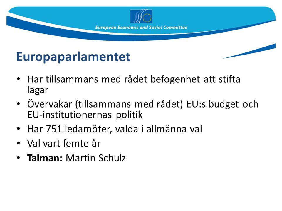 Europaparlamentet Har tillsammans med rådet befogenhet att stifta lagar Övervakar (tillsammans med rådet) EU:s budget och EU-institutionernas politik