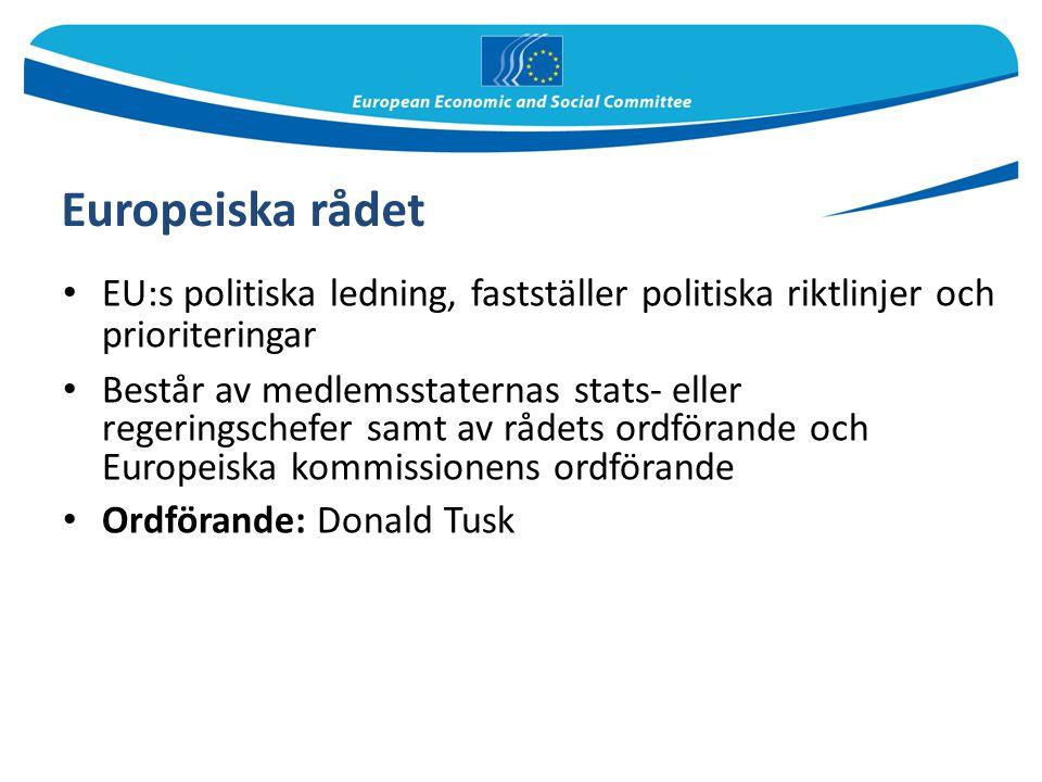 Europeiska rådet EU:s politiska ledning, fastställer politiska riktlinjer och prioriteringar Består av medlemsstaternas stats- eller regeringschefer s