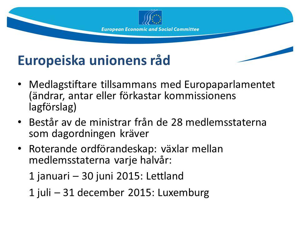 Europeiska unionens råd Medlagstiftare tillsammans med Europaparlamentet (ändrar, antar eller förkastar kommissionens lagförslag) Består av de ministr