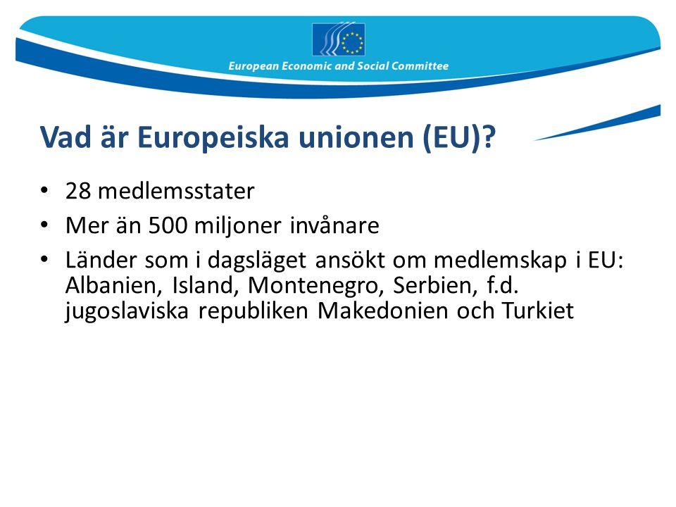 Vad är Europeiska unionen (EU)? 28 medlemsstater Mer än 500 miljoner invånare Länder som i dagsläget ansökt om medlemskap i EU: Albanien, Island, Mont