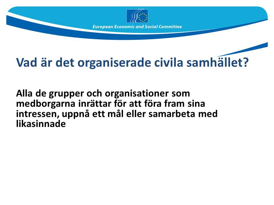 Vad är det organiserade civila samhället? Alla de grupper och organisationer som medborgarna inrättar för att föra fram sina intressen, uppnå ett mål