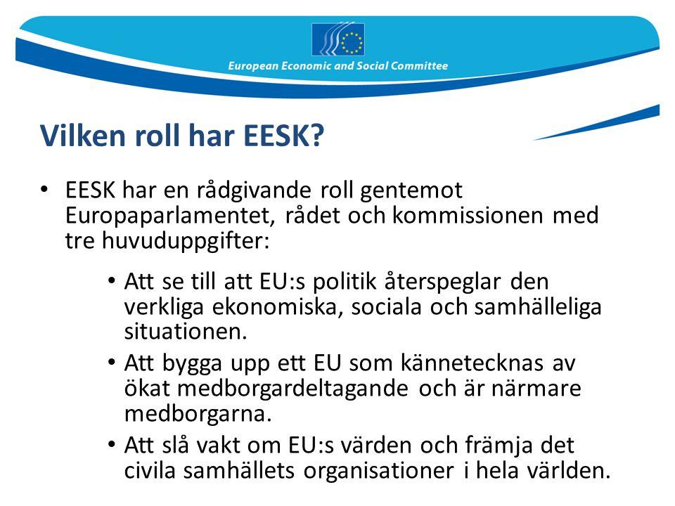 Vilken roll har EESK? EESK har en rådgivande roll gentemot Europaparlamentet, rådet och kommissionen med tre huvuduppgifter: Att se till att EU:s poli