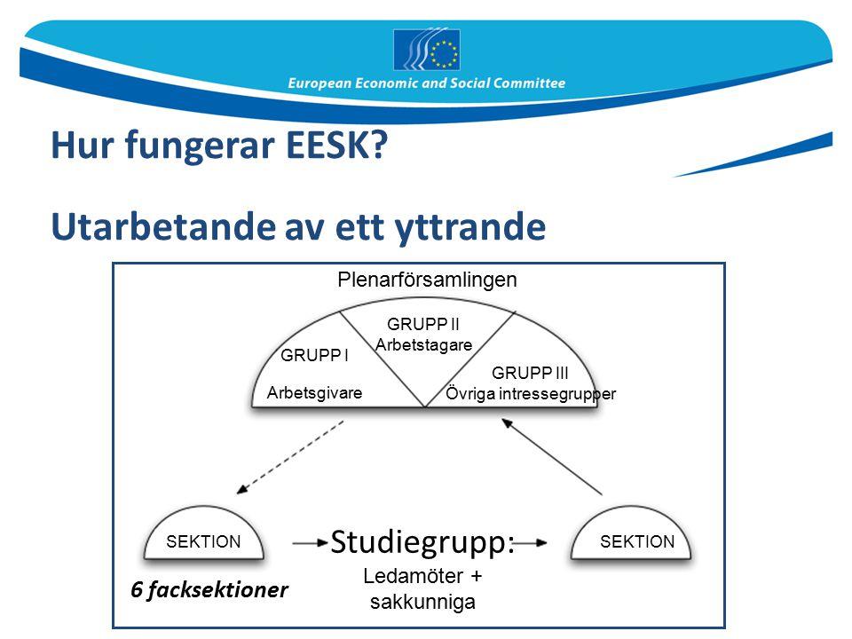 Hur fungerar EESK? Utarbetande av ett yttrande 6 facksektioner Plenarförsamlingen GRUPP II Arbetstagare GRUPP I Arbetsgivare GRUPP III Övriga intresse