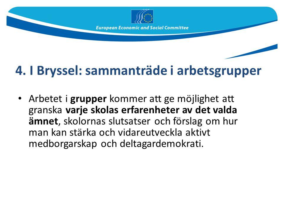 4. I Bryssel: sammanträde i arbetsgrupper Arbetet i grupper kommer att ge möjlighet att granska varje skolas erfarenheter av det valda ämnet, skolorna