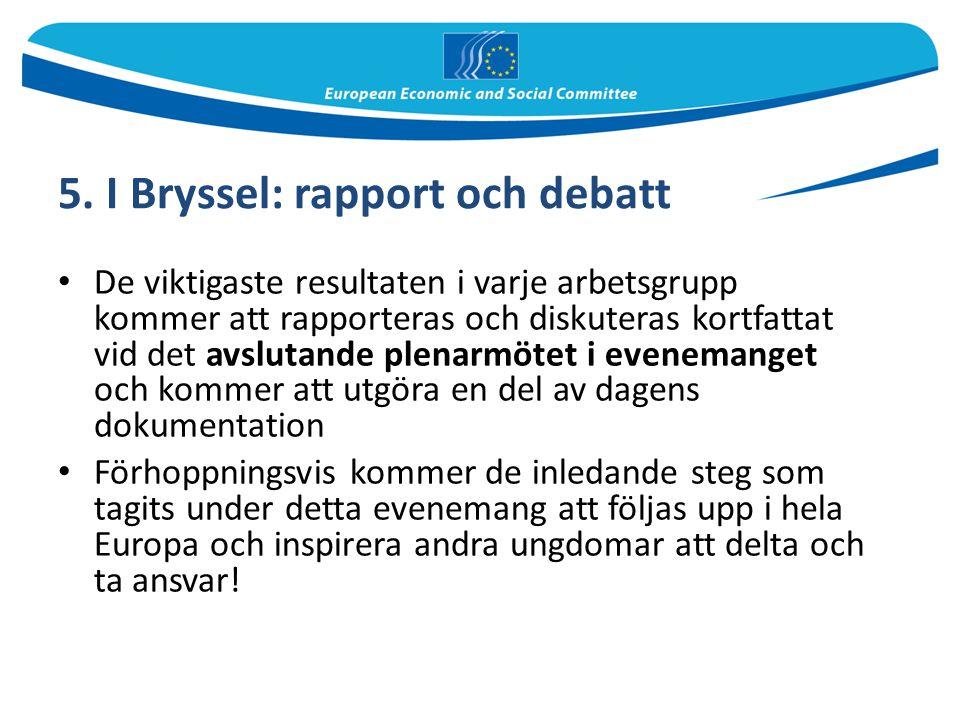 5. I Bryssel: rapport och debatt De viktigaste resultaten i varje arbetsgrupp kommer att rapporteras och diskuteras kortfattat vid det avslutande plen