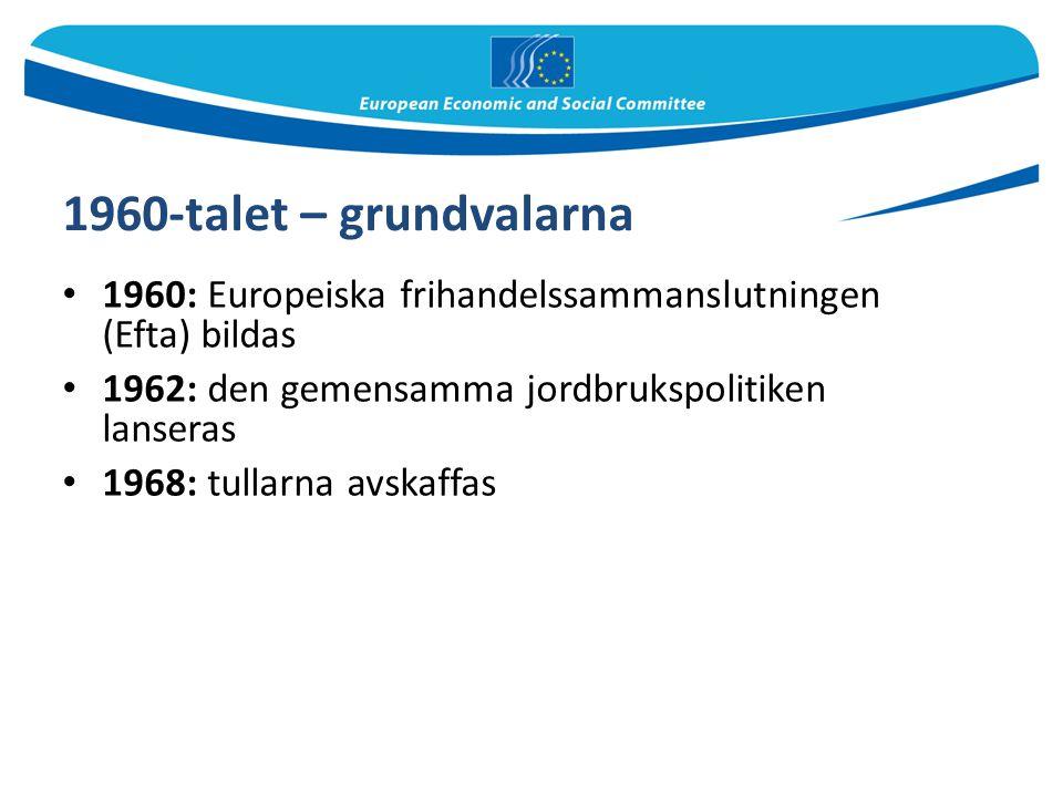 1960-talet – grundvalarna 1960: Europeiska frihandelssammanslutningen (Efta) bildas 1962: den gemensamma jordbrukspolitiken lanseras 1968: tullarna av