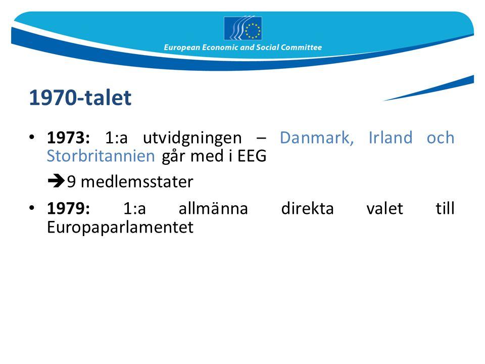 1970-talet 1973: 1:a utvidgningen – Danmark, Irland och Storbritannien går med i EEG  9 medlemsstater 1979: 1:a allmänna direkta valet till Europapar
